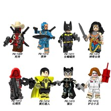 DC Super Hero Dick Cowboy Deadpool Deathstroke Catwoman Joker Red Hood Raccoon Ghost Rider Blocks Toys Legoed Minifigured(China)