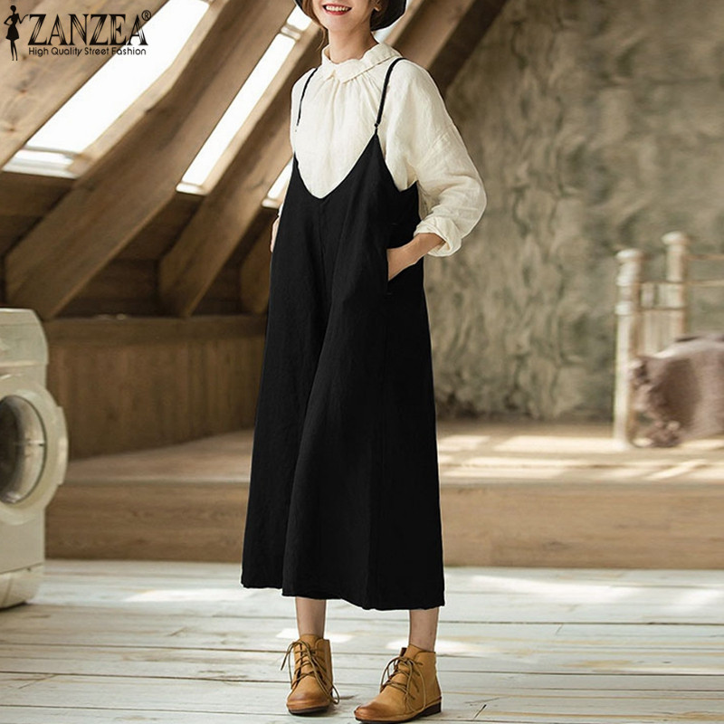 2018 ZANZEA Women Casual Strappy Pockets Jumpsuits Loose Cotton Linen Dungarees Bib Overalls Rompes Wide Leg Pants Plus Size