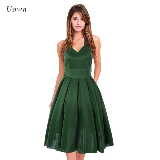 Robe empire vert
