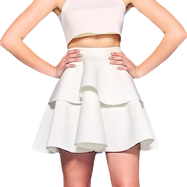 White Mini Flare Skirt