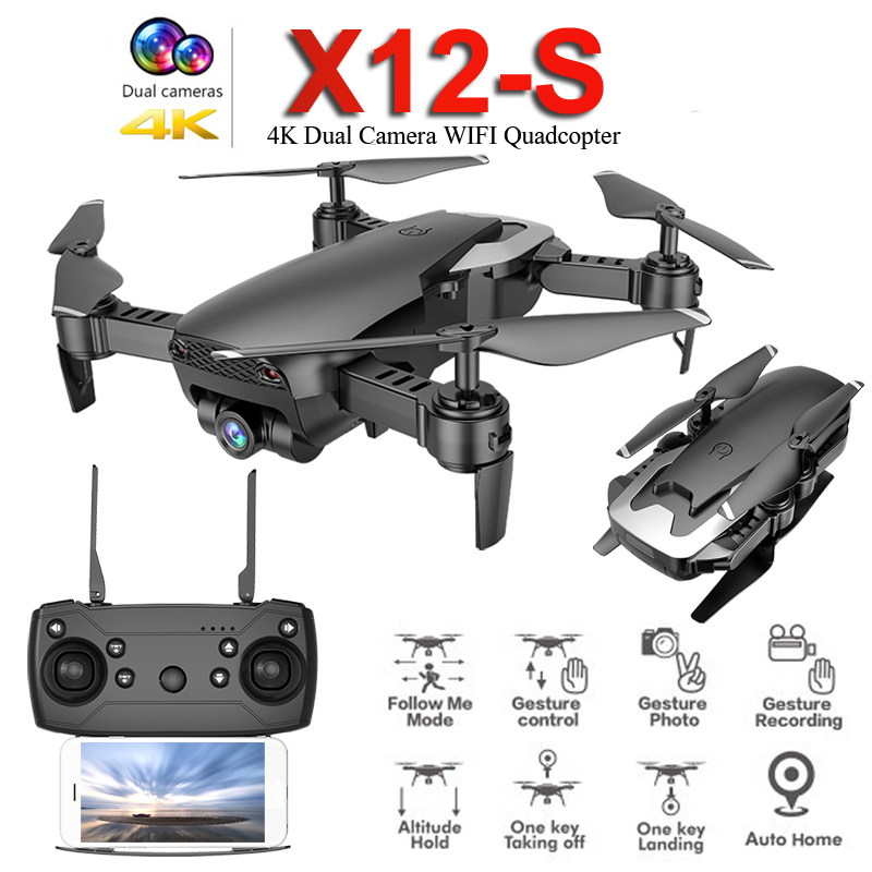 2019 New X12S Mini Foldable Drone With Camera 4K 1080P Wide-angle WiFi FPV Altitude Hold RC Quadcopter Helicopter Toy SG106 E58