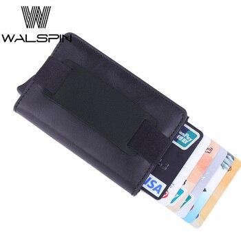 Cartera delgada RFID de aluminio con bolsillo trasero elástico PU tarjetero de cuero Mini automático Pop up ID tarjeta de crédito monedero