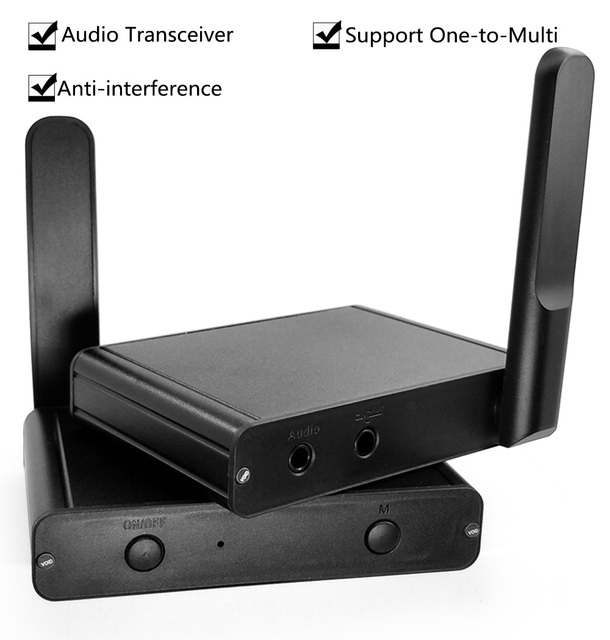 UHF Hifi Digital Wireless Audio Transceiver Adapter  Wireless Music Sound Transmitter Receiver With 3.5mm RCA Audio Cable
