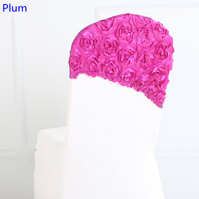 Plum colour embroider rosette satin chair sash wedding decoration chair covers hood lycra band fit all chairs wholesale