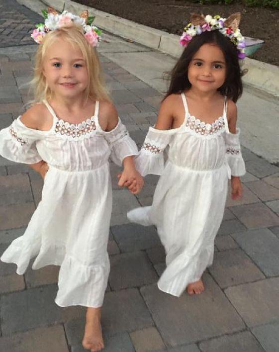 Stylish Little Girls Off Shoulder Floral Summer Dress