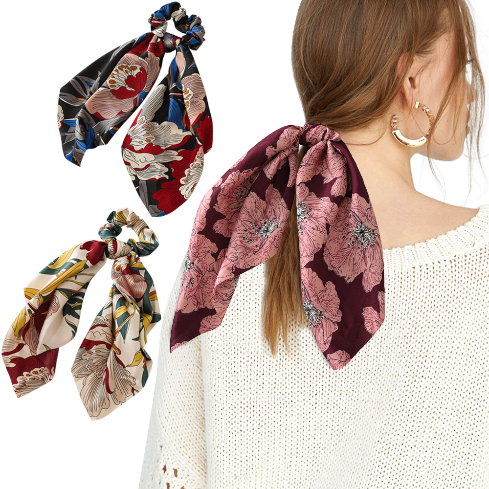 2019 New Fashion Women Hair Ribbon Scrunchie Ponytail Floral Hair Scarf Bow Elastic Hairband Multi-Function Hair Accessories