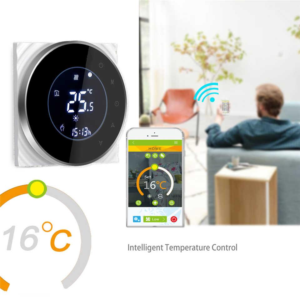 Inteligentny termostat Wifi bezprzewodowy termostat do wody termostat do ogrzewania kotła gazowego telefon App sterowania głosem z Alexa Google domu