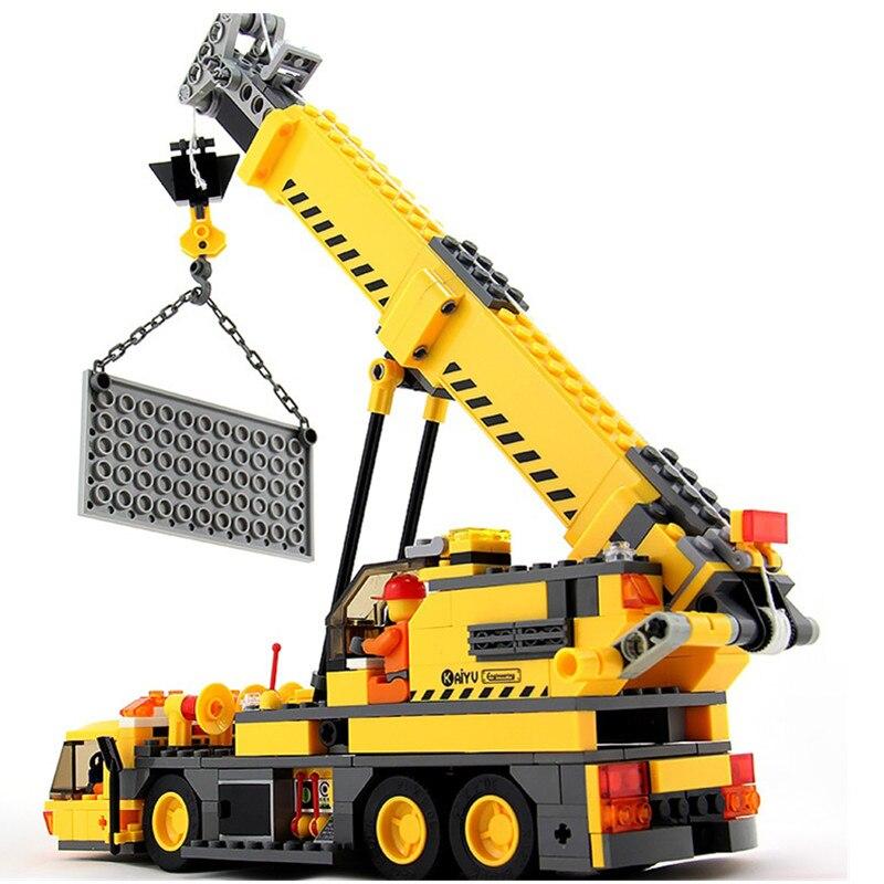 8045 Kazi 380pcs City Crane model Building Bricks Blocks Sets Kids Toys Compatible with Lepine technic 380pcs kazi 8045 city build crane aassembles particles diy educational blocks toys compatible birthday christmas new year gift