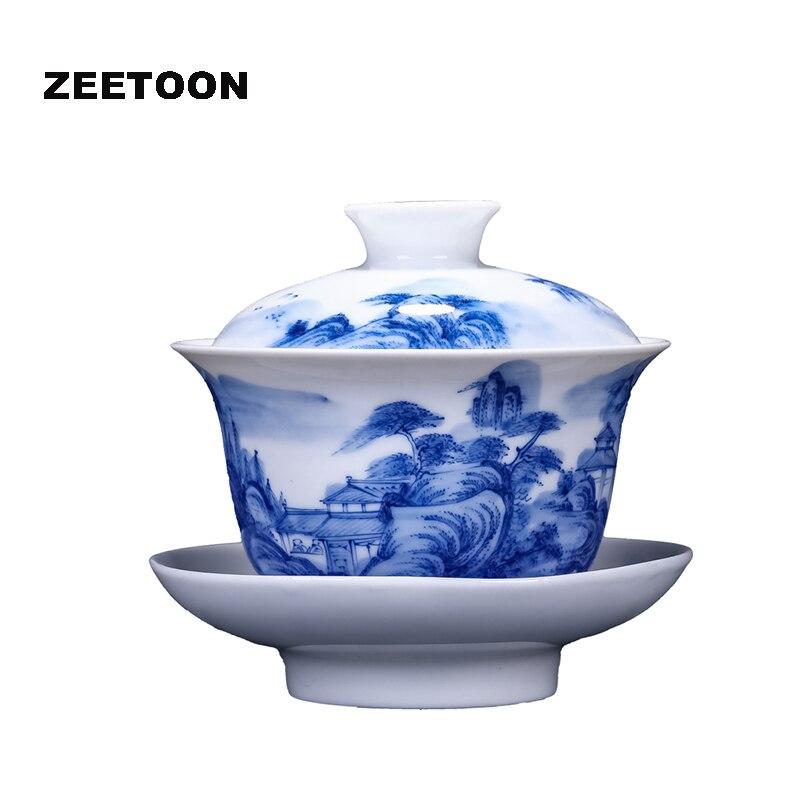 Boutique Jingdezhen Blue and White Porcelain Hand Painted Landscape Gaiwan China Kung Fu Tea Set Bowl Master Teacup Teapot 200ml