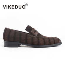 2019 Vikeduo Hot Mens Crocodile Skin Loafers Shoes Custom Made 100% Genuine Leather Fashion Party Dress Office Original Design