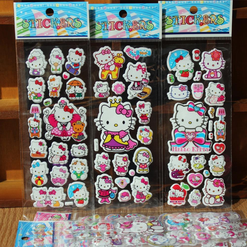 Home Decor 10pcs Lot Mixed Cartoon Hello Kitty 3d Foam Wall Stickers Toys