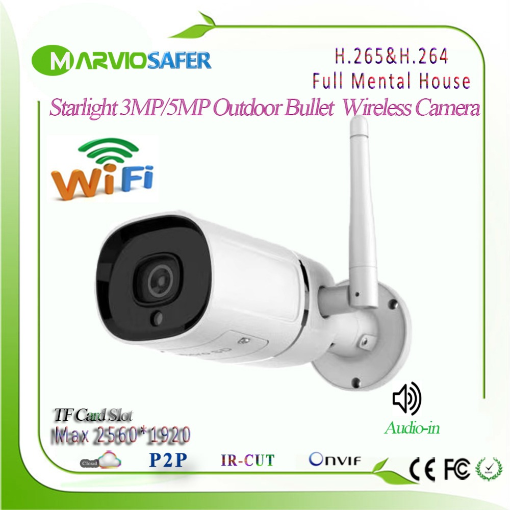 New H.265 Starlight 5MP Wifi Outdoor Bullet IP Network Camera CCTV Wireless Security Camara, Onvif RTSP TF Card Audio Recording