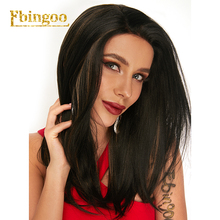 Ebingoo 18 Inch Futura Long Natural Wave Black Mixed Synthetic Lace Front Wig With Middle Part For Women