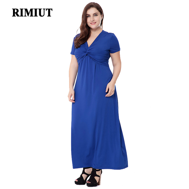 3fdc84c9d5 US $22.01 15% OFF|L 6XL Big Plus Size Women Formal Casual Summer Milk silk  Dress Elegant Short Sleeve V neck Long Dresses Party Fat MM Clothing-in ...