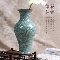 Jingdezhen ceramics antique flower vase of classical Chinese Home Furnishing kiln crack decoration room decoration