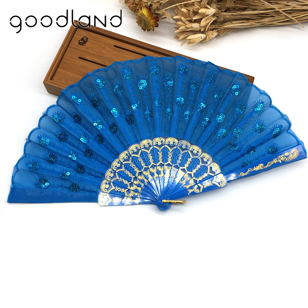 Wholesale Free shipping Hot selling 100 pcs lot Lace Sequins Peacock Folding Women Girl Dancing Fan