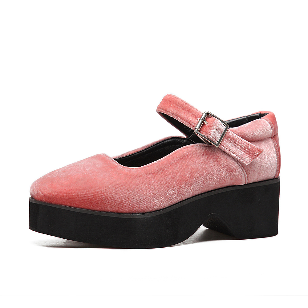 Women Casual Flat Shoes Platform Thick Sole Bottom Mary Jane Oxfords  Ballerinas Harajuku Velvet Preppy Style Shoes Ballerinas-in Women s Flats  from Shoes 0af43190b590