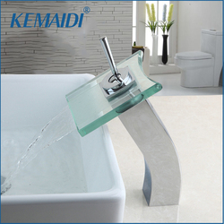 KEMAIDI RU Bathroom Basin Faucet Glass Waterfall Faucets Deck Mounted Single Handle Tap Brass Water Mixer Tap Wide Spout Water