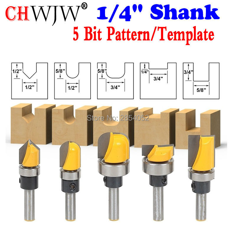 Trim Router Bit Set - 1/4 Shank - 5 Bit Pattern/Template Woodworking cutter Tenon Cutter for Woodworking Tools high grade carbide alloy 1 2 shank 2 1 4 dia bottom cleaning router bit woodworking milling cutter for mdf wood 55mm mayitr