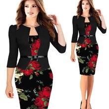 1f82710ca60ea QR Yaz Kadın Elbise 2019 Vintage Çiçek Baskı bayan Kalem Ofis Elbiseler  Kadın Rahat Artı Boyutu