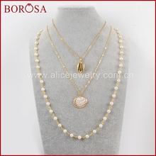 BOROSA 3/4/5PCS 26inch Gold Color Trim Cowrie Shell Scallop With Pearl Beads Chains Necklace Jewelry for Women G1636