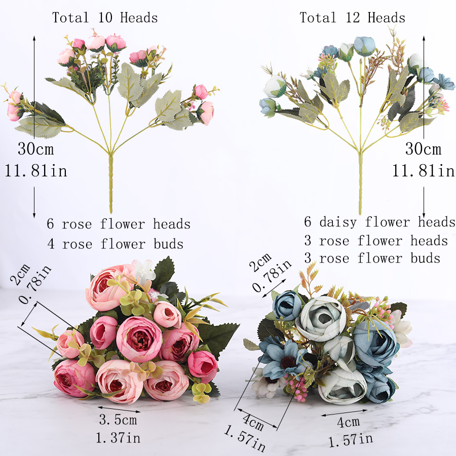 Silk DIY Daisy Camellia Artificial Flowers For Xmas Party And Wedding Decoration 5