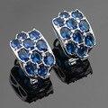 Gran Azul Creado Zafiro Negro Piedras de Plata Pendientes de Aro de Color Joyas de Zafiro Para Las Mujeres Caja de Regalo Libre