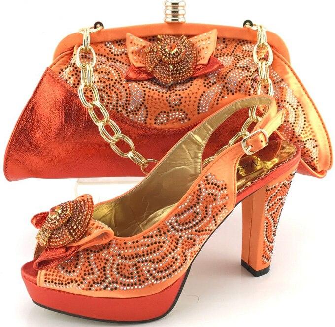 Qualité Et Ensemble 2017 rose Orange En jaune Chaussures Haute Italie orange Partie La Italien Couleur Sac Pour De Vert Femmes Assorties wqI0E