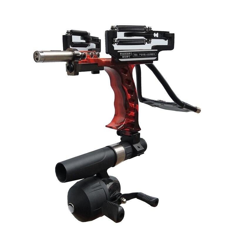 New 1Set Powerful Multifunction Slingshot For Fishing Shooting Bow + Fishing Reel Red Light Hunting Arrow Rest High Quality new powerful high quality 1 set