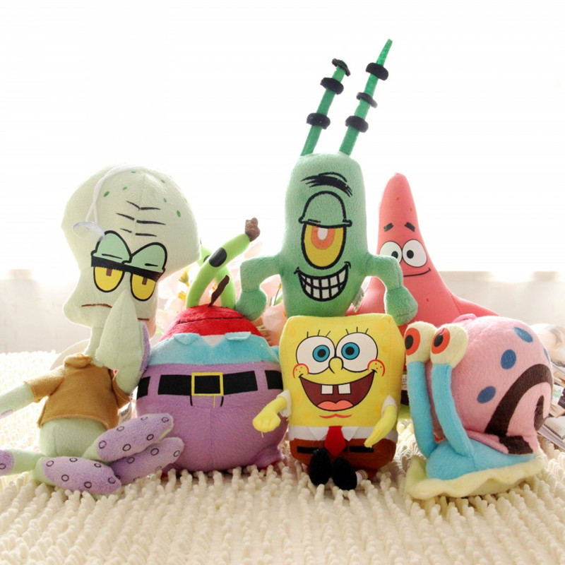 Spongebob Set Cotton Stuffed Plush Sponge Bob/Patrick/Crab/Plankton/Octopus/Snail Dolls Kids Brinquedos For Children 6 Style