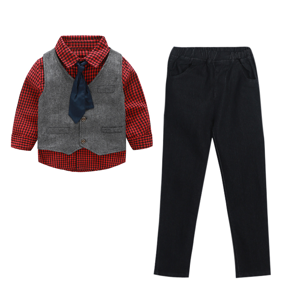 Spring Autumn New Kids Child Boys Gentlemen Outfit Set Plaid Shirt With Tie+Vest+Pants 3Pcs Casual Clothes Set For 2-7Y 2016 new suit boys clothes brand winter sweater for kids 3 13 year with m word three piece set boys vest pants coat a 26145