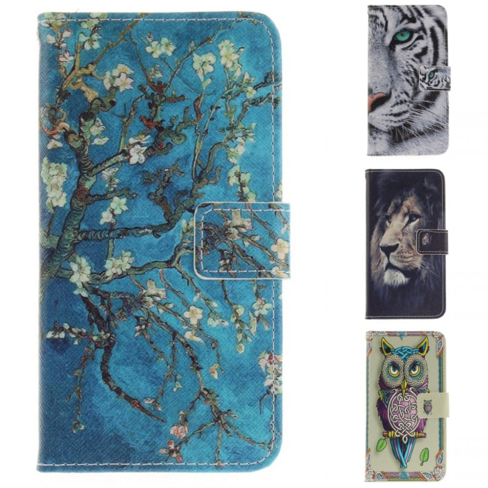 Fashion Cartoon London Tiger Owl Lion wallet card pu leather flip stand cover Case For Huawei Y5 2017 Huawei Y3 2017 Y7 With pen