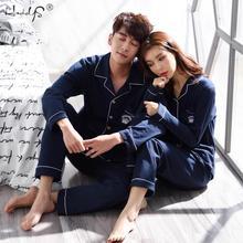 Pajamas-Set Couples Suit Clothing Sleepwear Men Long-Sleeve Male Winter Women for Autumn