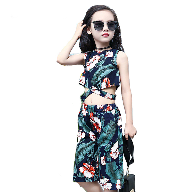 6cb226eb7f Conjuntos de Roupas de verão 2018 Crianças de Moda Meninas 2 pcs Blusa Top    Calças