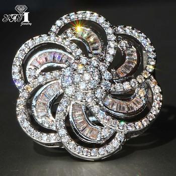 YaYI biżuteria moda księżniczka Cut 4 8 CT biały cyrkon srebrny kolor pierścionki zaręczynowe obrączki ślubne Party pierścionki tanie i dobre opinie Zaręczyny Zespoły weselne Kobiety Cyrkonia TRENDY HR541 20mm Prong ustawianie yayi jewelry Geometryczne Miedzi NONE Good Mood