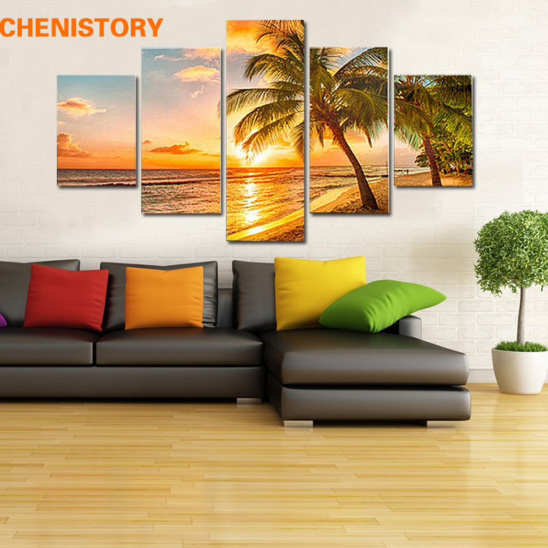 Unframed 5pcs Beach Sunset Seascape Modern Home Wall Decor Canvas HD Print Picture Artwork For Living Room Decor