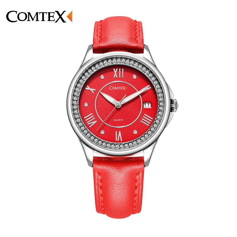 ФОТО Comtex Brand Women Watch Casual Red Leather Strap Shell Dial Face Analog Display Quartz Watches Waterproof Calendar
