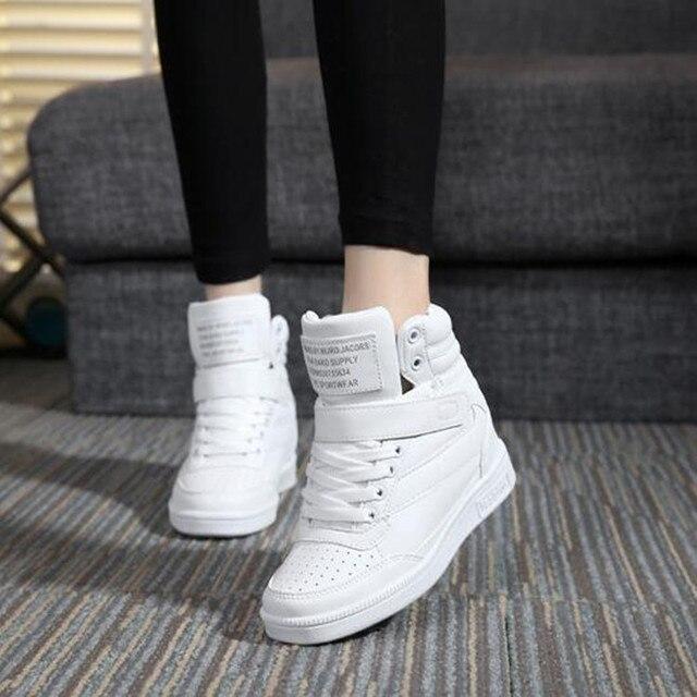 bdc4eeba49 US $21.47 40% OFF Spring New Designer Wedges White Platform Sneakers Women  Shoes 2018 Tenis Feminino Casual Female Shoes Woman Basket Femme-in Women's  ...