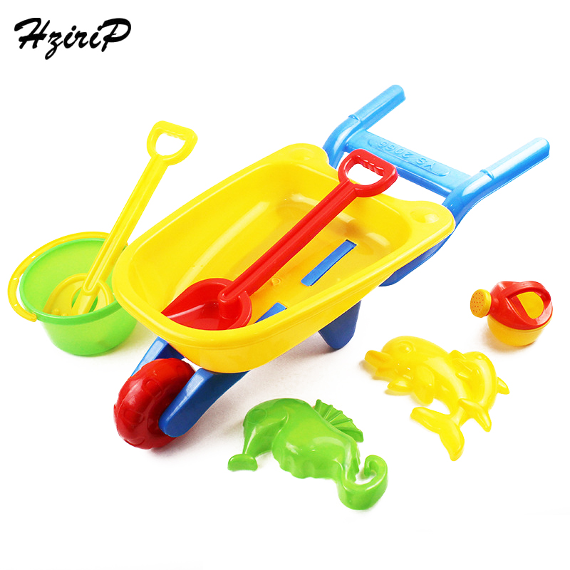 HziriP Sand Playing Tool Childrens Beach Cart Toys Sets Summer Plastic Bucket Mold Shovel Seahorse Dolphin Model Outdoor Toy