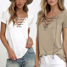6 Colors Trendy T-Shirt V-neck Criss Cross Women T Shirt Summer Style Short Sleeve Tops Hollow Out T
