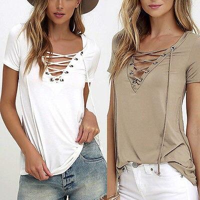 6 couleurs à la mode T-Shirt col en v Criss Cross femmes T-Shirt d'été Style à manches courtes hauts évider Top femme T-Shirt haut