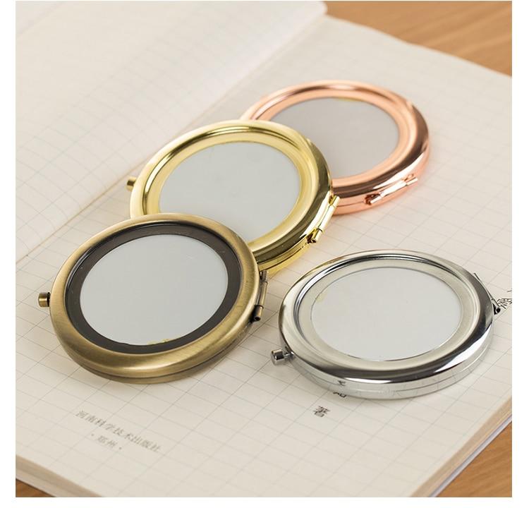 Gold Diy Round Case Frame Manual Craft Parts Diy Fabric Art Handmade Material Makeup Mirror Bag Accessories For Women Frame