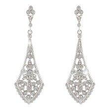 BELLA Fashion Rhombus Leaf Bridal Earrings Austrian Crystal Dangle Wedding Earrings Bride Bridesmaid Wedding Accessory Art Deco