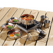 New 8Pcs Outdoor Picnic Pot Pan Kit Stainless Steel Backpacking Cookware Plate Bowl Cup Pan Cover for Camp Hiking Cooking Set стоимость
