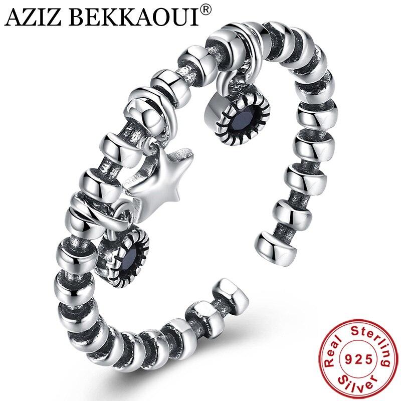 Cuff-Rings Dangle-Ring Jewelry Open Sterling-Silver Vintage Women Cute for AZIZ BEKKAOUI