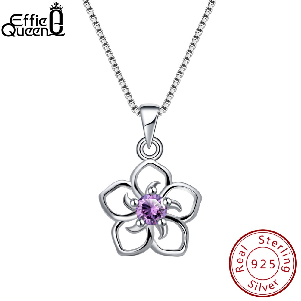 Effie Queen Genuine 925 Sterling Silver Women Flower Pendants Clear Purple Blue Red AAA Dazzling CZ Romantic Girls Jewelry BN97