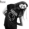 Harajuku Verão 2017 Casual Camisa Preta de T Mulheres Encabeça o Punk Rock Nirvana Carta Imprimir T-shirt de Manga Curta O-pescoço Camiseta Femme