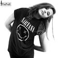 Harajuku Verano 2017 Negro Ocasional Mujeres de la Camiseta Tops Punk Rock Nirvana Impresión de la Letra de Manga Corta T-shirt O-cuello de la Camiseta Femme