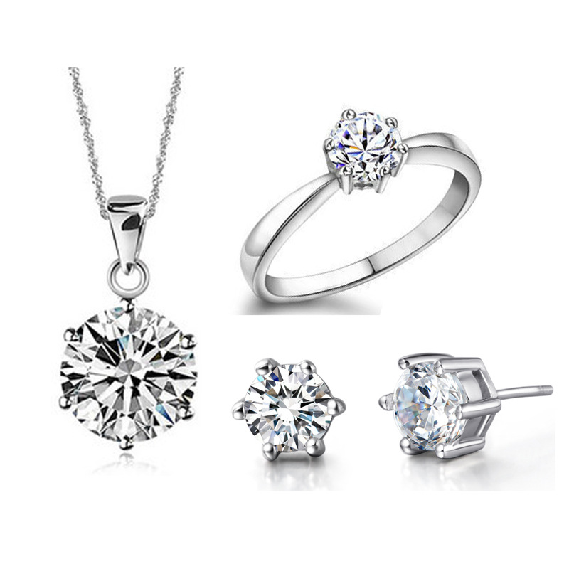 Jewelry-Sets Earring-Rings Necklaces Pendant Cubic-Zircon 925-Sterling-Silver Pure CZ
