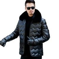 Для мужчин плюс размеры 3XL зима утепленная одежда белая утка подпушка кожаная куртка пальто с лисой воротник